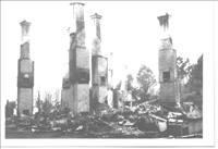 Black and white image of fire damage