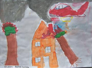 Child's painting of a bushfire threatening a house