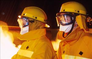 Firefighters in masks