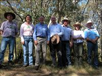 HighFire open day at Snowy Plains with, from left, Prof Mark Adams, Dr Maria Taranto and Kevin O'Loughlin from the Bushfire CRC, federal parliamentarian Gary Nairn and land owners Barry Aitchison, Trish and Darvall Dixon