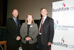 Gary Morgan, left, Acting CEO of the Bushfire CRC, shared the podium with Cr Robyn Smith and The Hon David Hawker