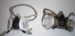 A mask comparison - the particulate filter (left) and the particulate/organic vapour/formaldehyde filter