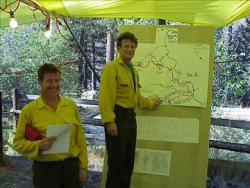 Firefighters and map