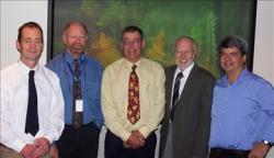 The research team, from left, Lachie McCaw, Neil Burrows, Phil Cheney, Jim Gould and Rick Sneeuwjagt