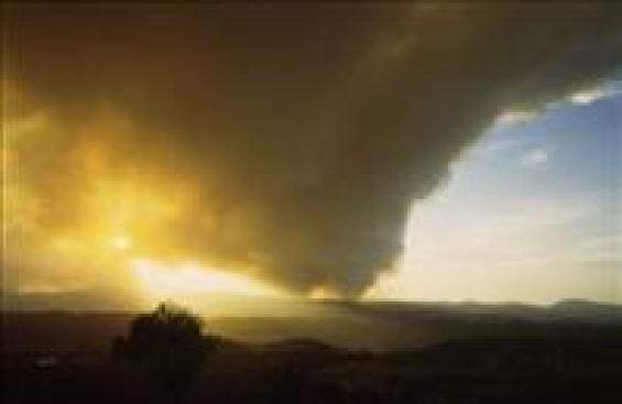 Smoke plume on the horizon