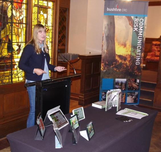 Briony Towers speaks at the ebook launch