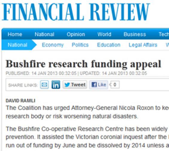 Financial Review article on Bushfire CRC funding