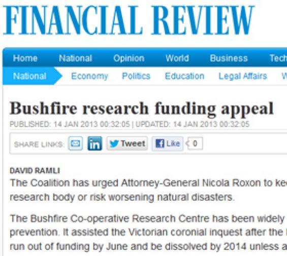 Financial Review article on Bushfire CRC funding