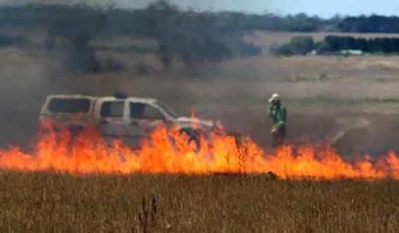 Prescribed burn - grass fire Shelford Victoria