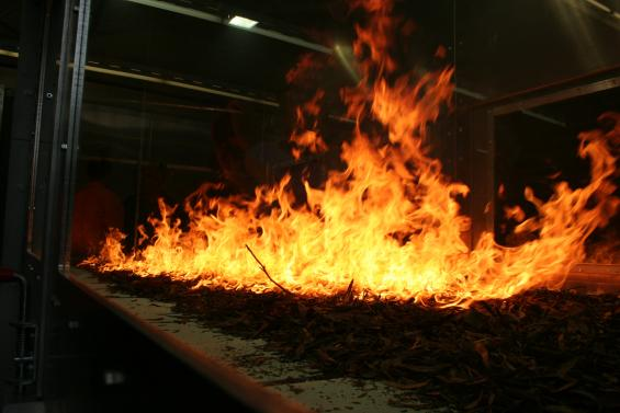 The pyrotron allows fires to be studied safely.