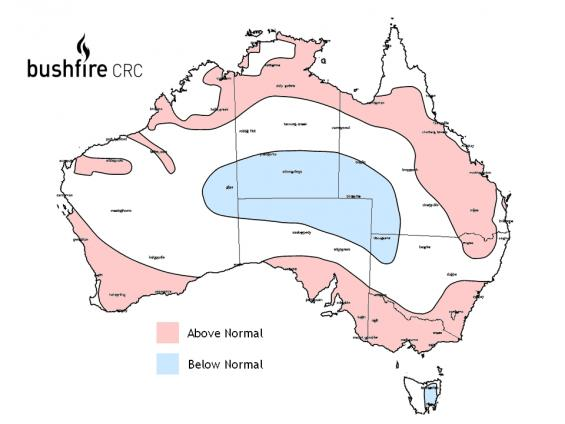 Bushfire map Fire Potential Outlook for Australia 2009-2010