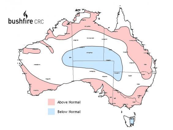 Bushfire map Fire Potential Outlook for Australia 2009-2010