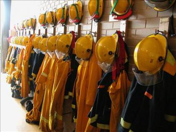 Firefighting gear hanging in wait
