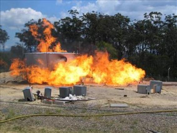 Burning water tanks